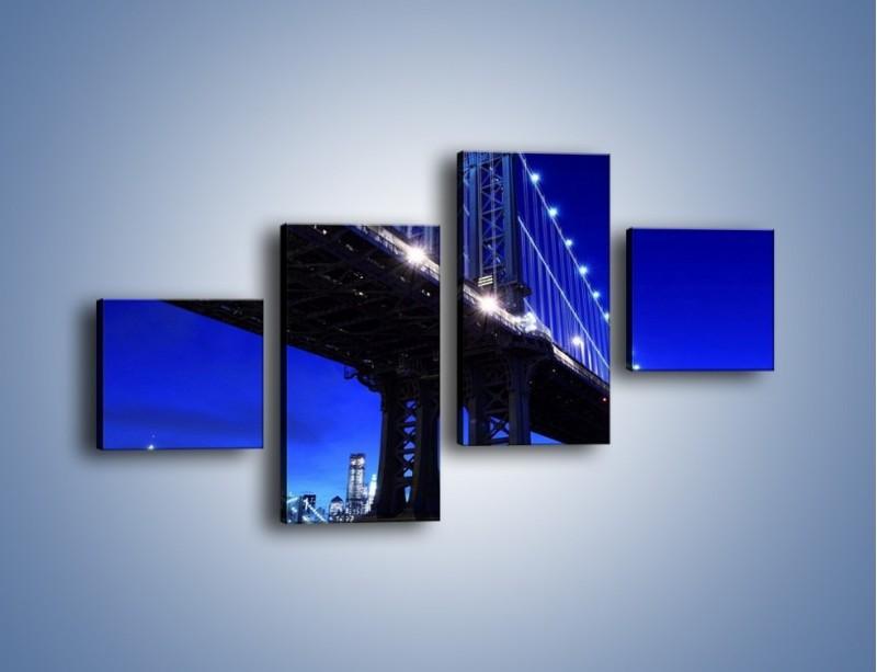 Obraz na płótnie – Oświetlony most wieczorem – czteroczęściowy AM003W3