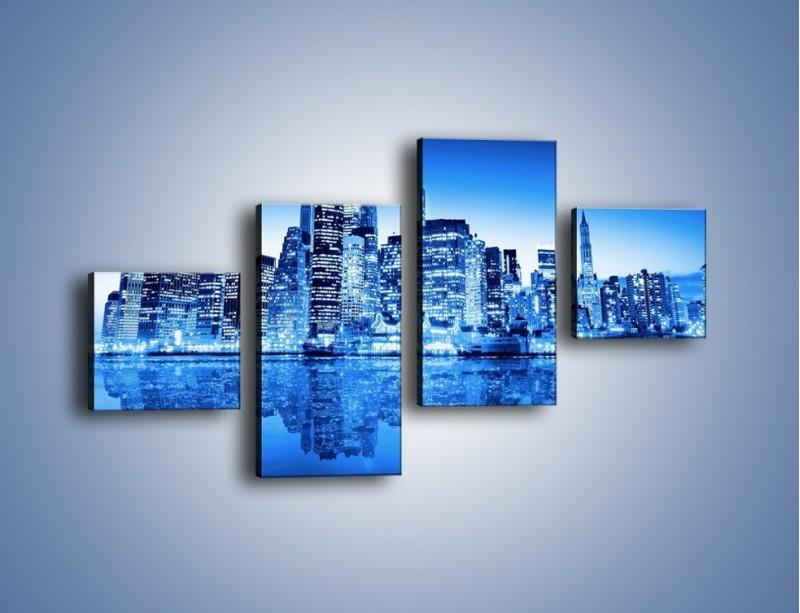 Obraz na płótnie – Odbicie miasta w tafli wody – czteroczęściowy AM004W3
