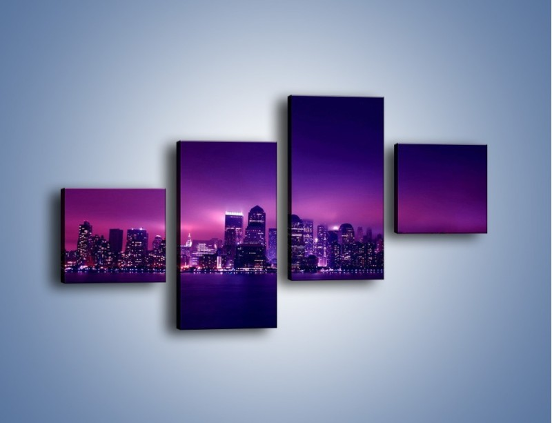 Obraz na płótnie – Wieżowce w odcieniach fioletu – czteroczęściowy AM008W3