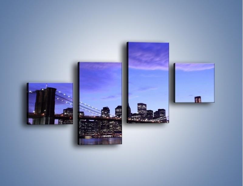 Obraz na płótnie – Most Brookliński przed zmierzchem – czteroczęściowy AM016W3