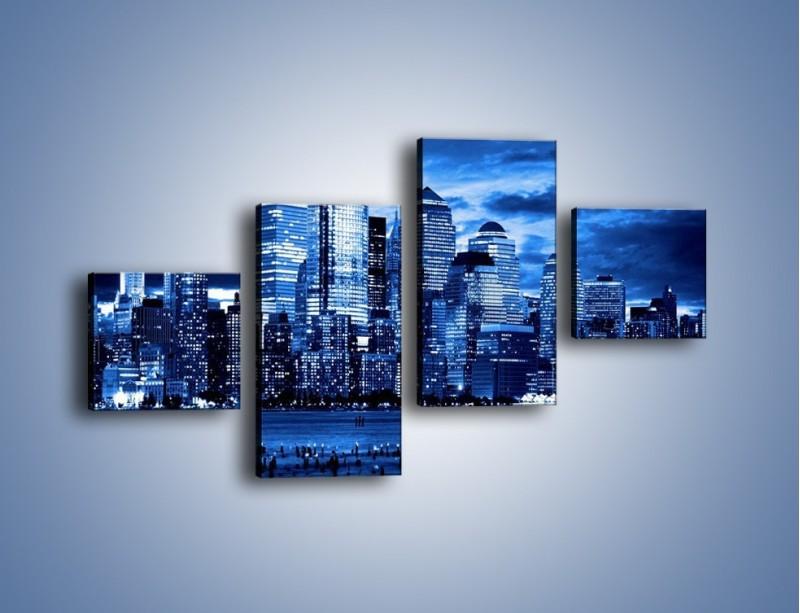 Obraz na płótnie – Wieżowce w odcieniach niebieskiego – czteroczęściowy AM017W3