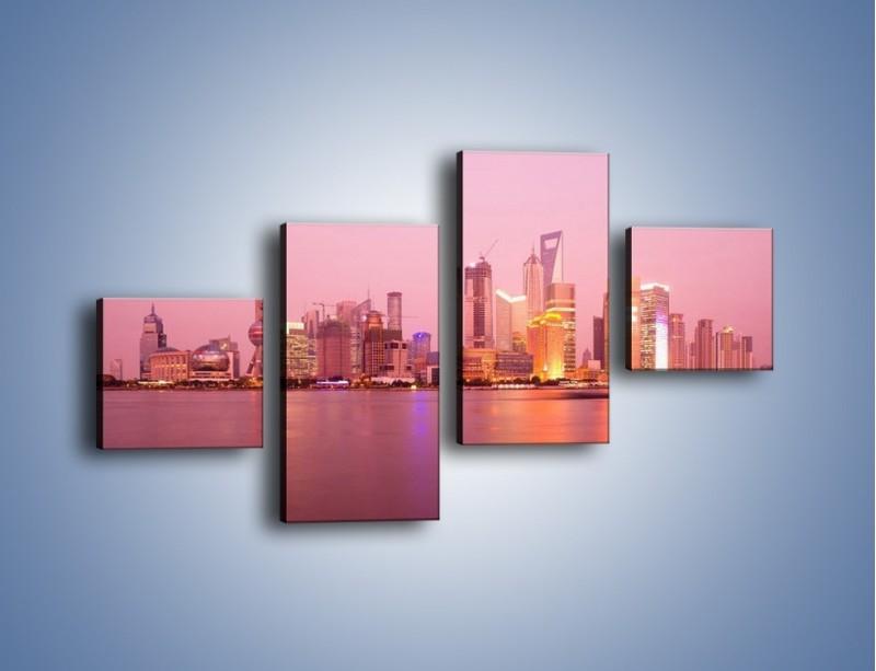 Obraz na płótnie – Miasto o poranku w odcieniach różu – czteroczęściowy AM020W3
