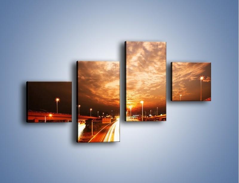 Obraz na płótnie – Oświetlona autostrada w ruchu – czteroczęściowy AM021W3