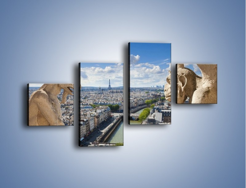 Obraz na płótnie – Kamienne gargulce nad Paryżem – czteroczęściowy AM037W3
