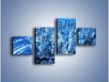 Obraz na płótnie – Centrum miasta w niebieskich kolorach – czteroczęściowy AM042W3