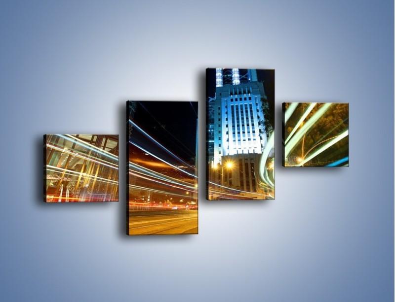 Obraz na płótnie – Światła w ruchu ulicznym – czteroczęściowy AM048W3