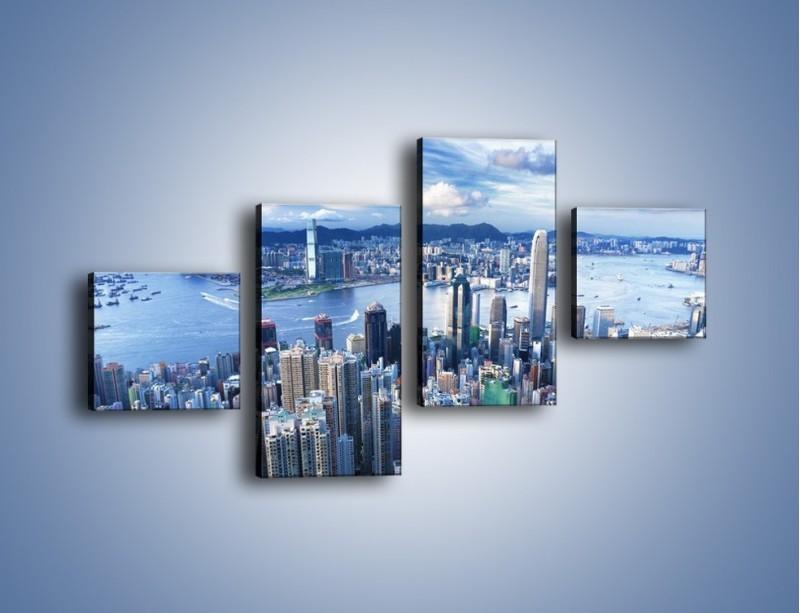Obraz na płótnie – Miasto portowe o poranku – czteroczęściowy AM050W3