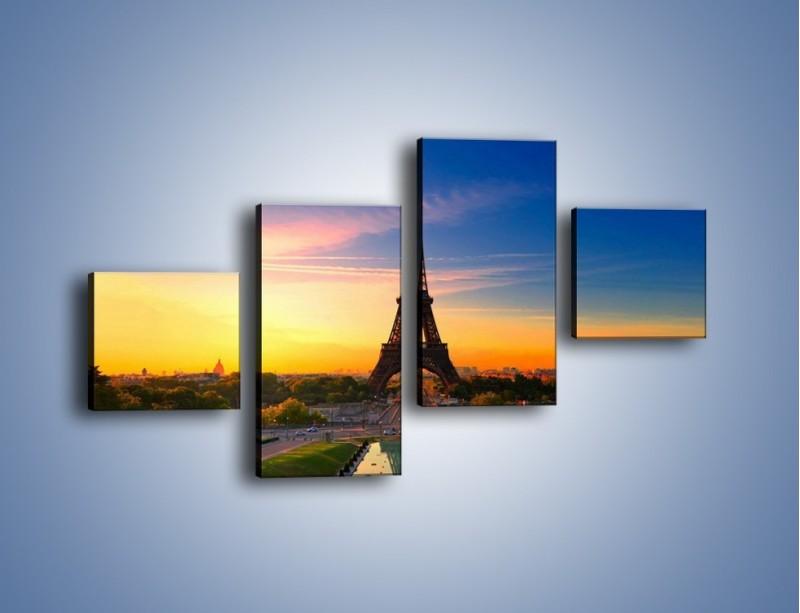 Obraz na płótnie – Wieża Eiffla o zachodzie słońca – czteroczęściowy AM052W3
