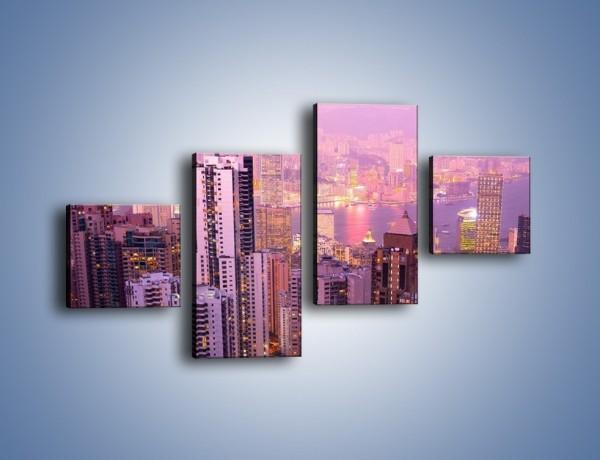 Obraz na płótnie – Duże miasto budzące się o poranku do życia – czteroczęściowy AM062W3