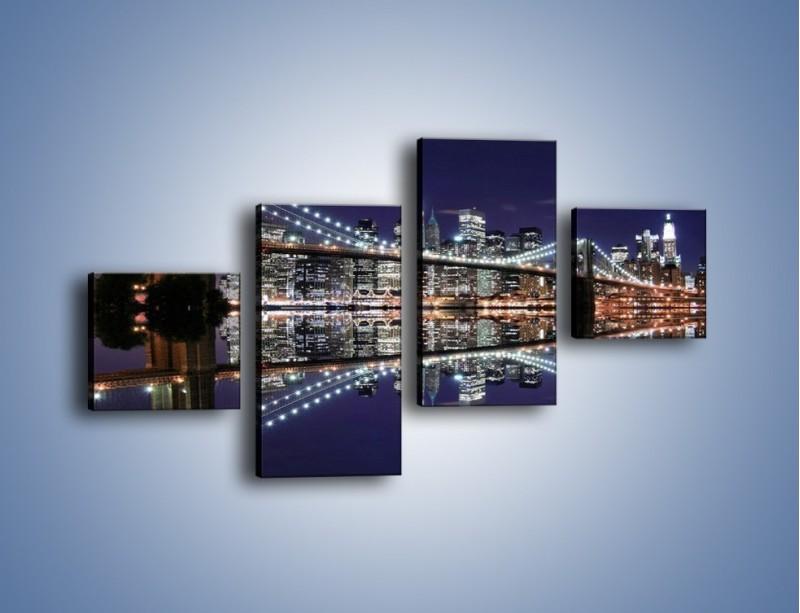 Obraz na płótnie – Most Brookliński w lustrzanym odbiciu wody – czteroczęściowy AM067W3