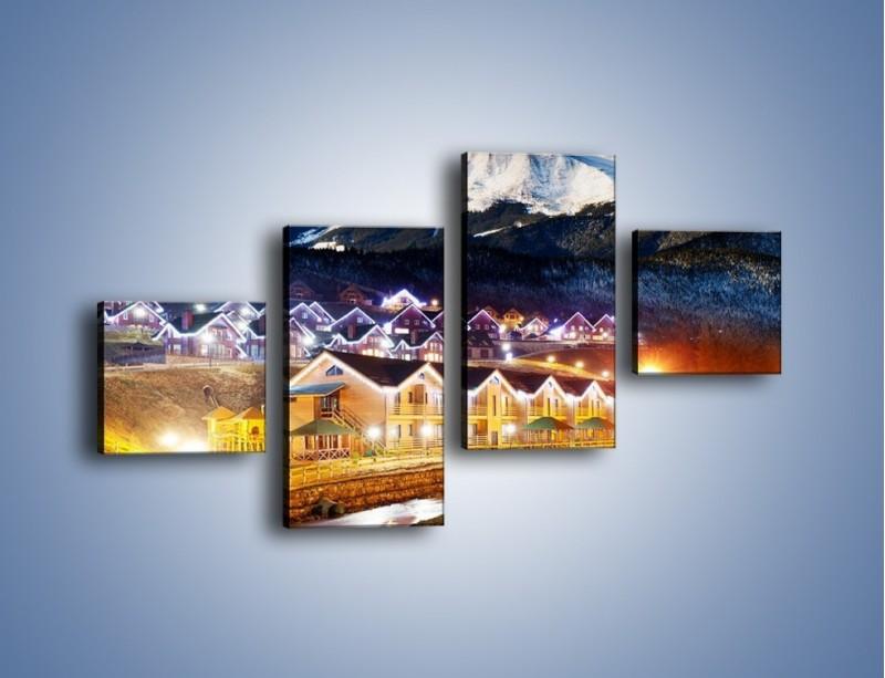 Obraz na płótnie – Oświetlone domki pod górami – czteroczęściowy AM070W3