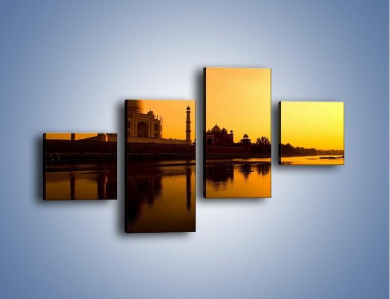 Obraz na płótnie – Taj Mahal o zachodzie słońca – czteroczęściowy AM075W3