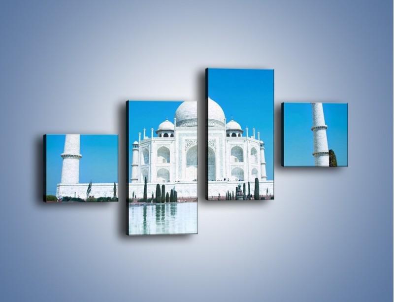 Obraz na płótnie – Taj Mahal pod błękitnym niebem – czteroczęściowy AM077W3