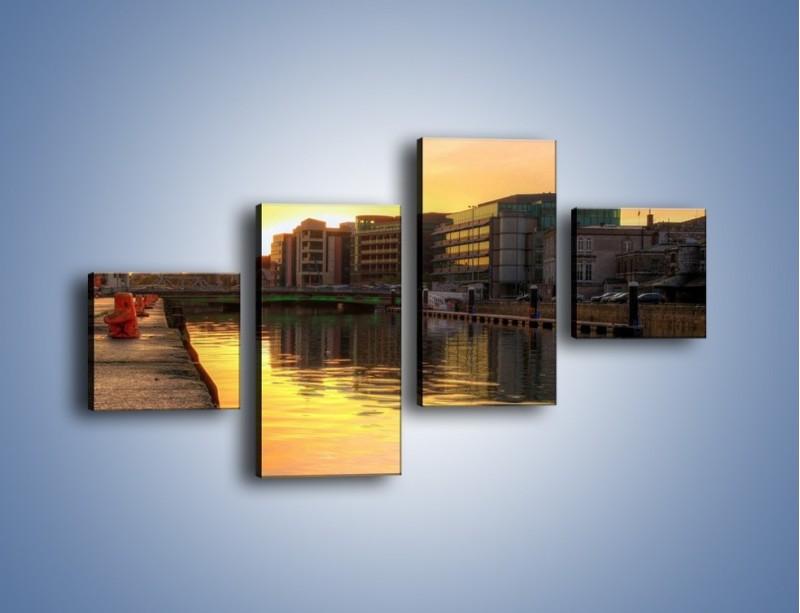 Obraz na płótnie – Kanał portowy o wschodzie słońca – czteroczęściowy AM079W3