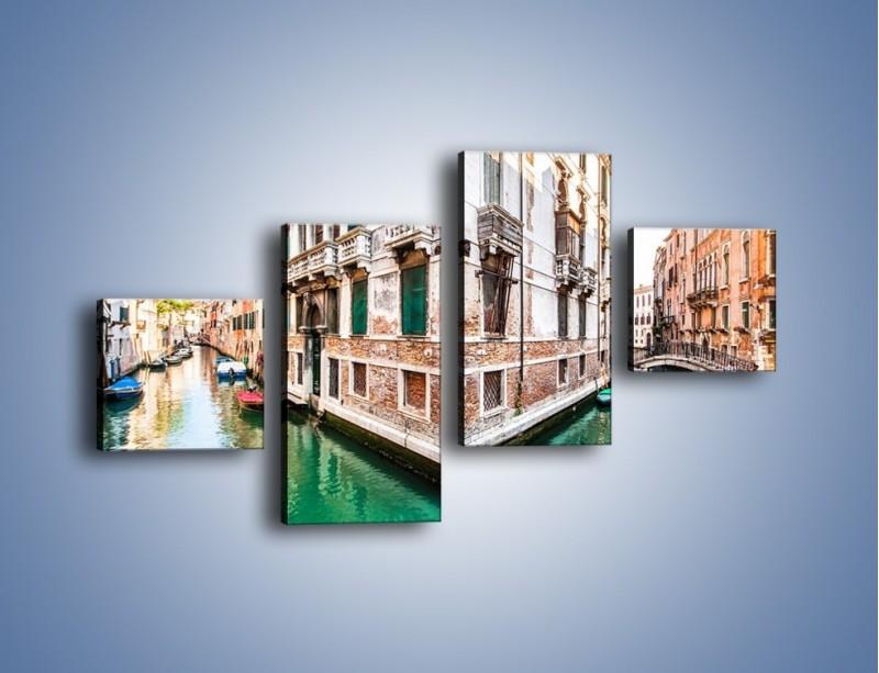 Obraz na płótnie – Skrzyżowanie wodne w Wenecji – czteroczęściowy AM081W3