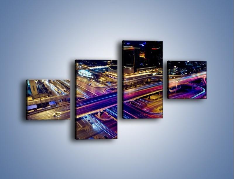 Obraz na płótnie – Skrzyżowanie autostrad nocą w ruchu – czteroczęściowy AM087W3