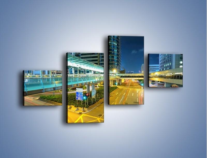 Obraz na płótnie – Droga na lotnisko w Japonii – czteroczęściowy AM088W3