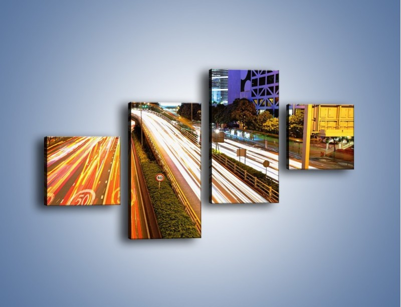 Obraz na płótnie – Ulice w ruchu w mieście – czteroczęściowy AM089W3