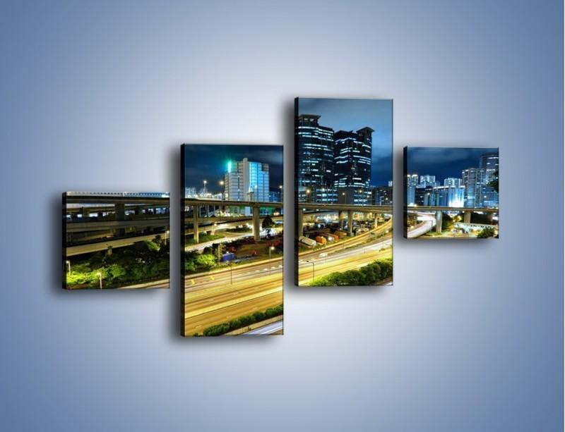 Obraz na płótnie – Przedmieście miasta wieczorem – czteroczęściowy AM091W3