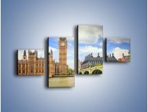 Obraz na płótnie – Big Ben w pochmurny dzień – czteroczęściowy AM095W3