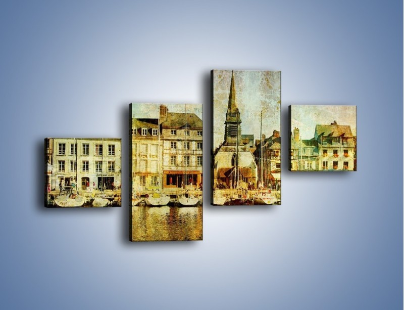 Obraz na płótnie – Łódki nad brzegiem miasteczka w stylu vintage – czteroczęściowy AM108W3