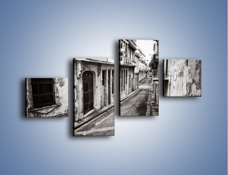 Obraz na płótnie – Urokliwa uliczka w starej części miasta – czteroczęściowy AM124W3