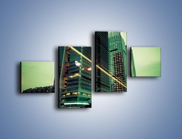 Obraz na płótnie – Wieżowce w zielonym odcieniu – czteroczęściowy AM129W3
