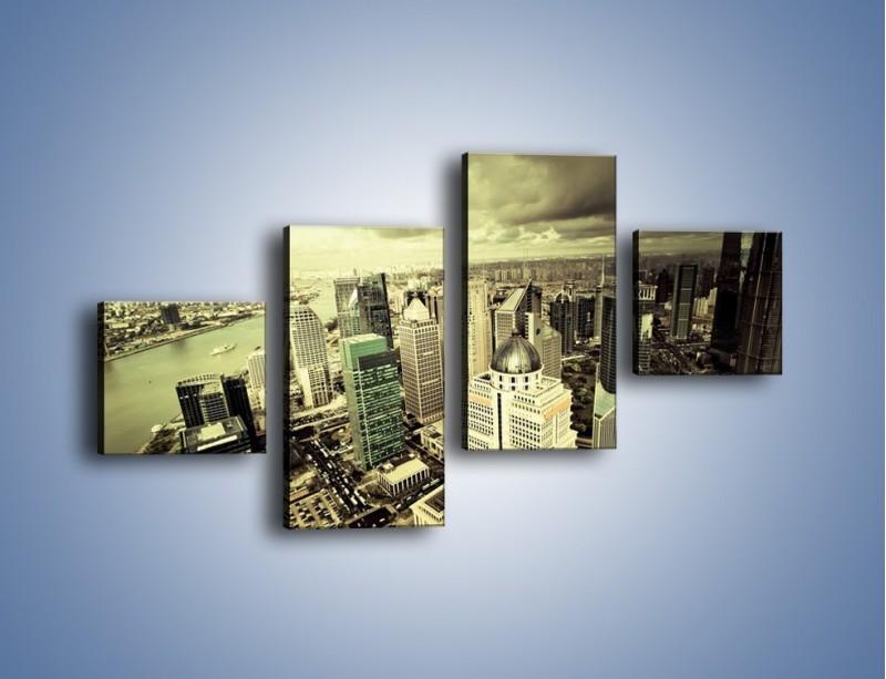 Obraz na płótnie – Ciemne chmury nad miastem – czteroczęściowy AM130W3