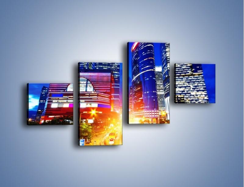 Obraz na płótnie – Miasto w żywych kolorach – czteroczęściowy AM131W3