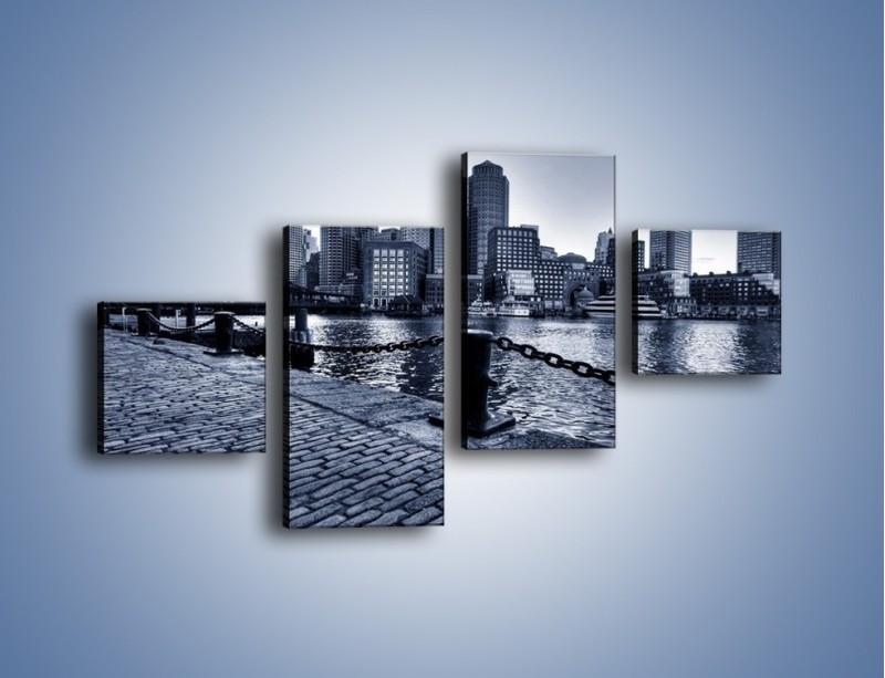 Obraz na płótnie – Wybrukowana wybrzeże miasta – czteroczęściowy AM132W3