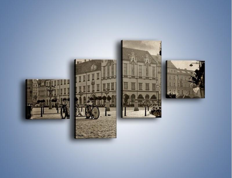 Obraz na płótnie – Rynek Starego Miasta w stylu vintage – czteroczęściowy AM138W3