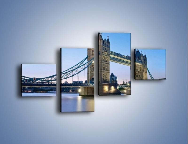 Obraz na płótnie – Tower Bridge o poranku – czteroczęściowy AM143W3