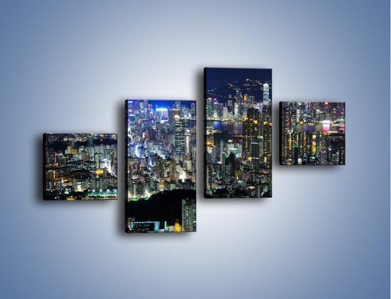 Obraz na płótnie – Nocne światła w dużym mieście – czteroczęściowy AM144W3