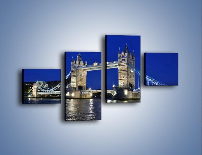 Obraz na płótnie – Tower Bridge nocą – czteroczęściowy AM145W3