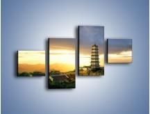 Obraz na płótnie – Azjatycka architektura o poranku – czteroczęściowy AM151W3