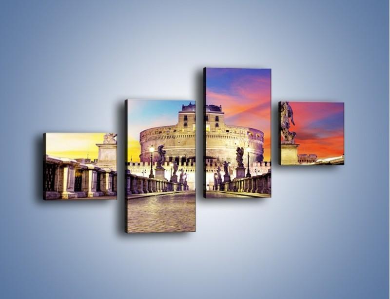 Obraz na płótnie – Zamek św. Anioła na tle kolorowego nieba – czteroczęściowy AM156W3