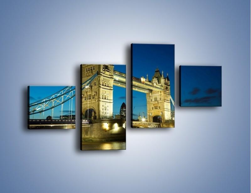 Obraz na płótnie – Tower Bridge wieczorową porą – czteroczęściowy AM159W3