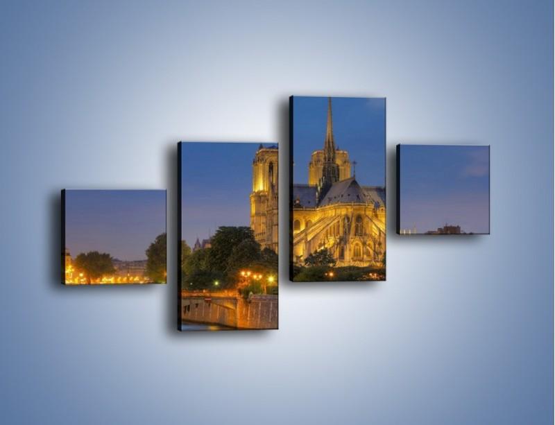 Obraz na płótnie – Kościół w świetle wieczornych lamp – czteroczęściowy AM170W3