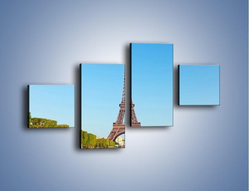 Obraz na płótnie – Wieża Eiffla pod błękitnym niebem – czteroczęściowy AM171W3