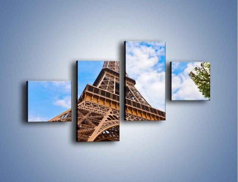 Obraz na płótnie – Wieża Eiffla pod chmurkami – czteroczęściowy AM173W3