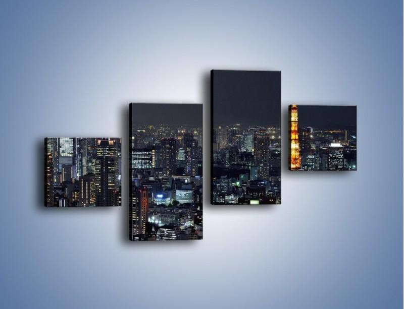 Obraz na płótnie – Rozświetlona Wieża Eiffla nocą – czteroczęściowy AM174W3