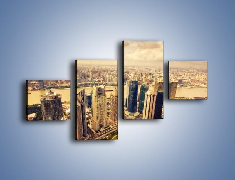 Obraz na płótnie – Miasto w pochmurny dzień – czteroczęściowy AM178W3