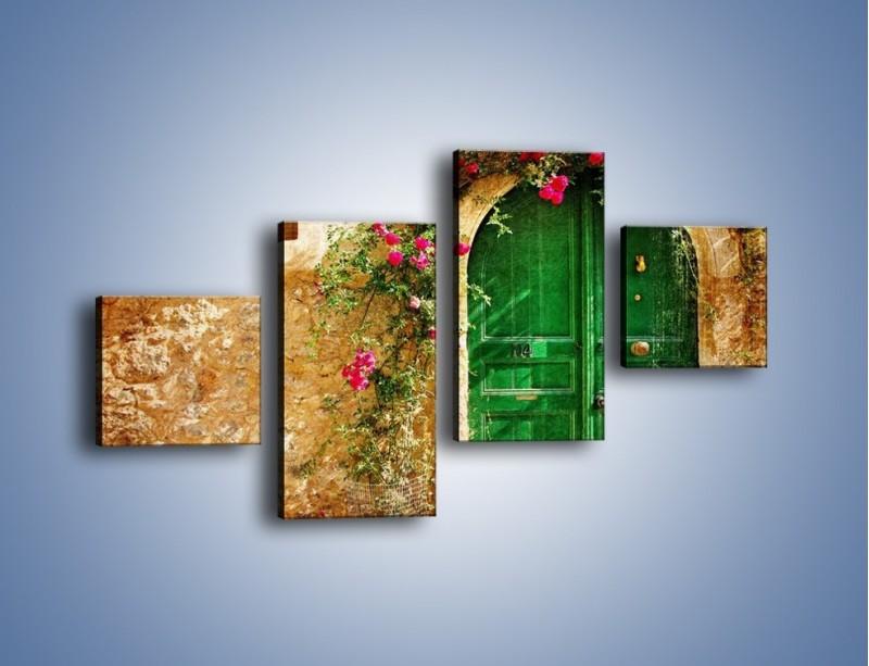 Obraz na płótnie – Drzwi w greckim domu vintage – czteroczęściowy AM192W3