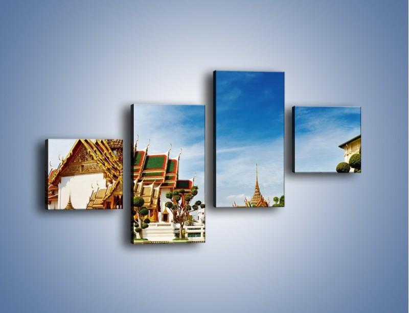 Obraz na płótnie – Tajska architektura pod błękitnym niebem – czteroczęściowy AM197W3