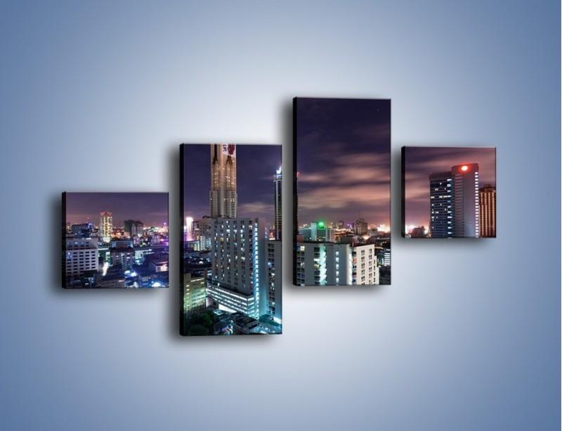 Obraz na płótnie – Duże miasto nocą – czteroczęściowy AM202W3