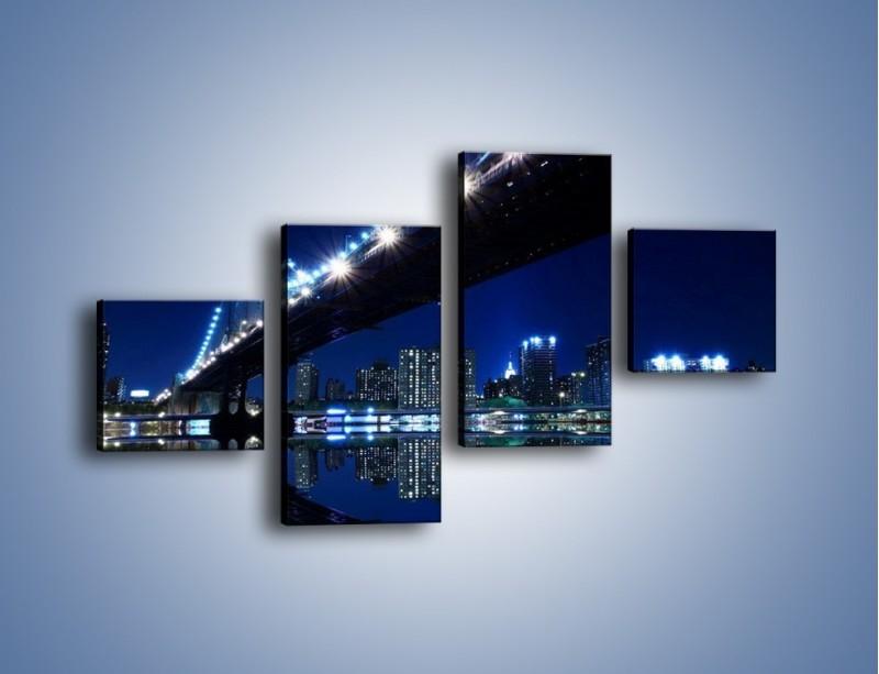 Obraz na płótnie – Oświetlony most w odbiciu wody – czteroczęściowy AM211W3