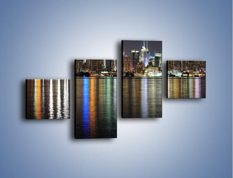 Obraz na płótnie – Światła miasta w lustrzanym odbiciu wody – czteroczęściowy AM222W3