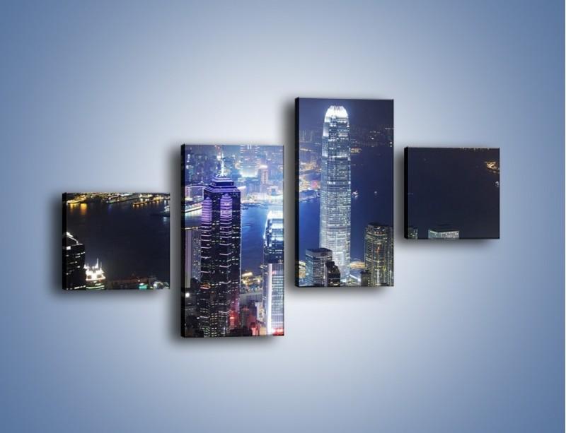 Obraz na płótnie – Miasto oświetlone nocą – czteroczęściowy AM223W3
