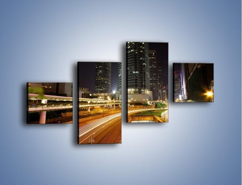 Obraz na płótnie – Miasto w nocnym ruchu ulicznym – czteroczęściowy AM225W3