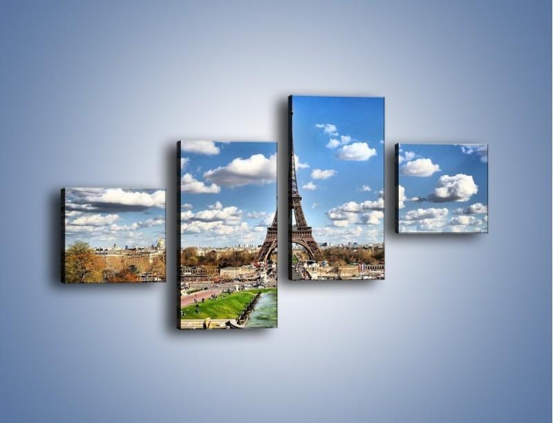 Obraz na płótnie – Wieża Eiffla w pochmurny dzień – czteroczęściowy AM227W3